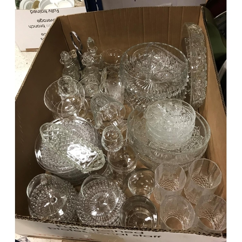 8 - Three boxes of assorted china and glass ware together with various costume jewellery, watches, a sma...