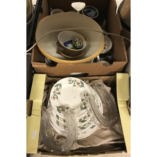 12 - Four boxes of sundry glassware to include Crown Staffordshire part dinner service and two glass hors...