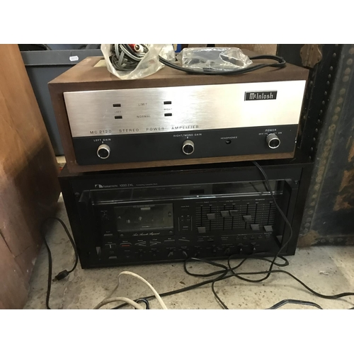 15 - A MacIntosh hi-fi system with MC2120 stereo power amplifier, turntable and speakers together with a ...