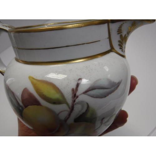 36 - A Worcester-type fruit decorated jug 10 cm high together with a Copenhagen cherub decorated coffee c...