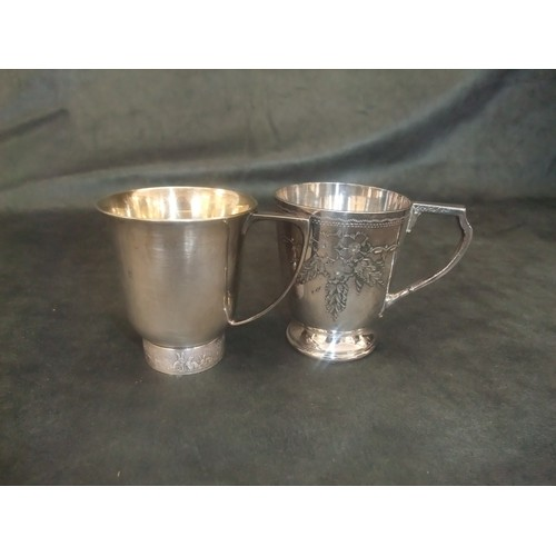 19 - Silver christening cup with silver gilt interior with bunny rabbits embossed on band of base by Mapp...