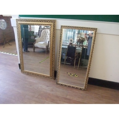 31 - Gilt framed bevelled wall mirror with border of acanthus leaves, 107cm x 73cm and a smaller mirror (...