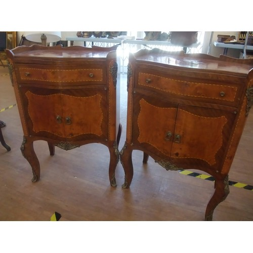 32 - Pair of French style inlaid cabinets each with low raised back, serpentine fronted with single drawe...