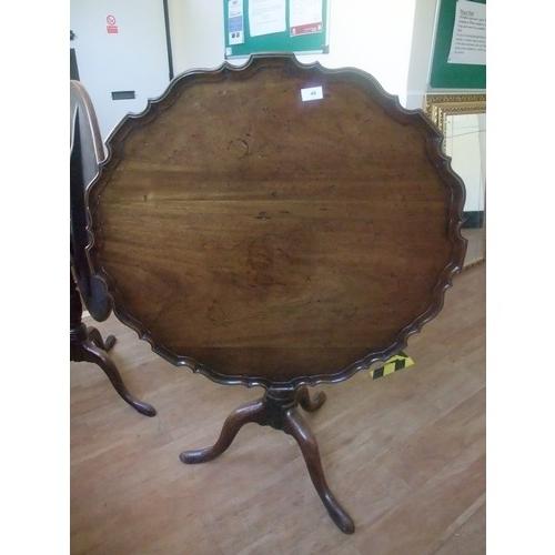 33 - Circular top table with pie crust border on turned column tripod legs, 83cm dia....