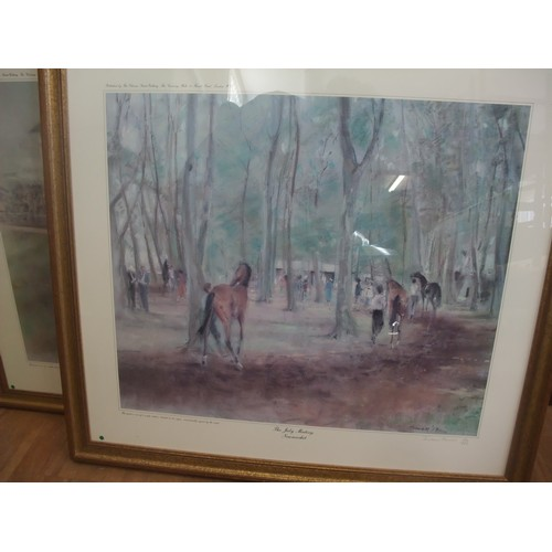 36 - Jonathan Trowell, 87- 'The July Meeting at Newmarket' 59cm x 50cm, limited edition print, no. 150 of...