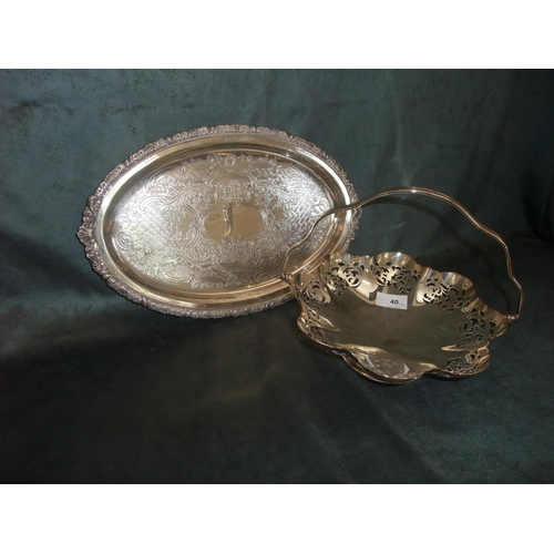 40 - EPNS fruit bowl with carrying handle raised on footed base, 30cm dia, and an oval dish (2)...