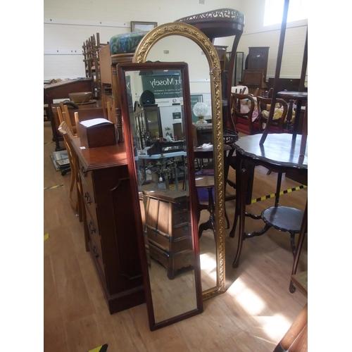 47 - A Chinese style 20th century mirror, 14cm x 27cm and a modern gilt wall mirror, 129cm x 38cm (2)...