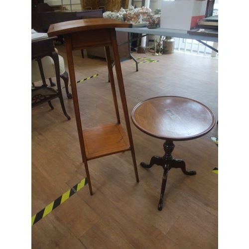 48 - A small George V style occasional table mahogany and inlaid with stringing on tripod base, 39cm in d...