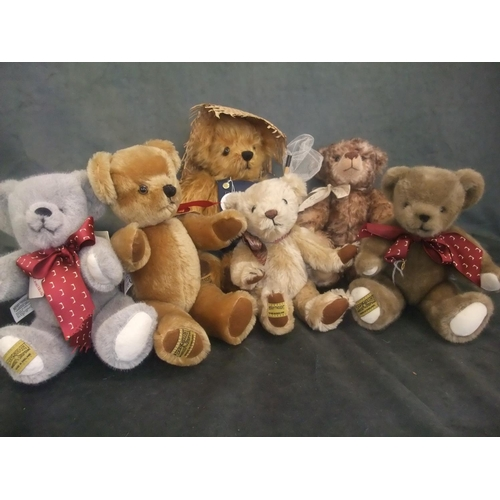 55 - Six modern Merrythought teddy bears, various, unboxed (6)....
