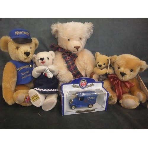 56 - A Merrythought 'Special Delivery' bear, four further bears and a die cast Merrythought toy van (6)....