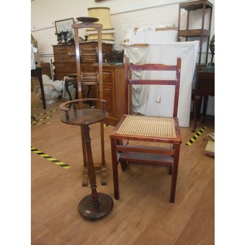 6 - A Swift oak wool winder, a smoker's type stand , and a metamorphic library chair (3)....