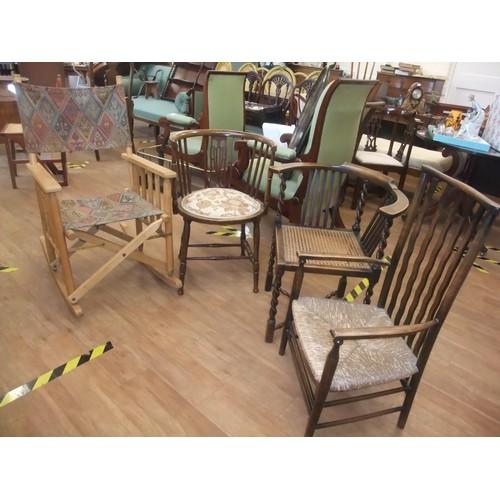 5 - Edwardian mahogany tub shaped chair, padded seat on turned legs, cane backed corner chair on barley ...