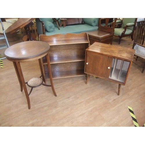 4 - Nest of four open bookshelves, 71cm wide, Edwardian inlaid mahogany circular top occasional table wi...