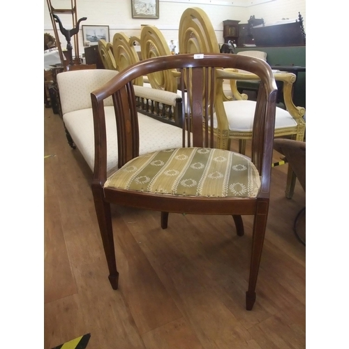 12 - Edwardian inlaid mahogany tub shaped occasional chair, padded seat, on square taper legs, spade feet...