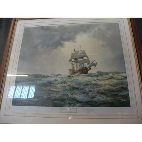 35 - Montague Dawson- 'The Gallant Mayflower' print, 71cm x 60cm, signed on mount....