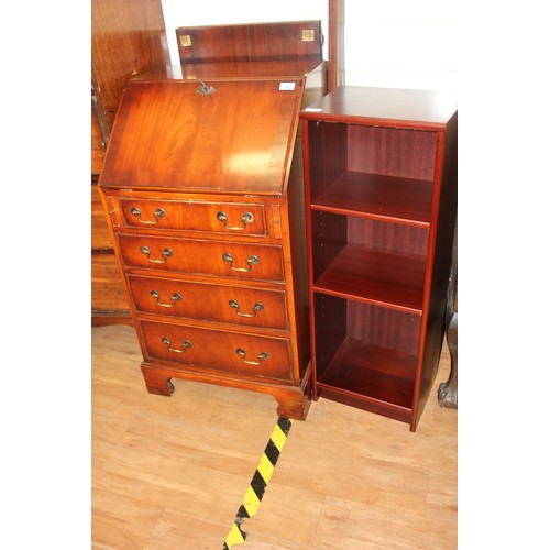 36 - A reproduction mahogany lady's bureau, 53cm wide, and a small open bookcase, 36cm wide (2).