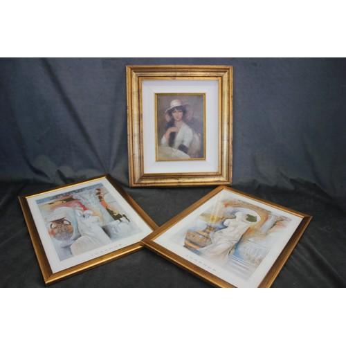 37 - Leia John- small portrait of woman, 23cm x 17cm and two decorative prints (3).