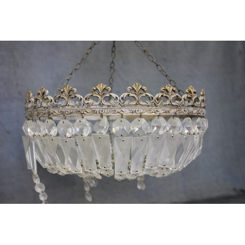 8 - A decorative metal and glass drop chandelier, 31cm in diameter, and a gilt brass square form lantern...