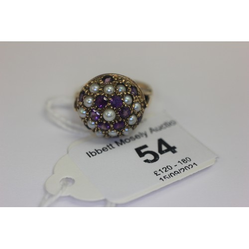 54 - A 9ct gold amethyst and seed pearl cluster dress ring.