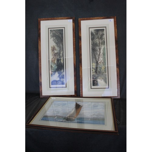 55 - After Chabridon - a pair of French etchings, wooded river scenes, with chateau, each 63cm x 17cm, to...