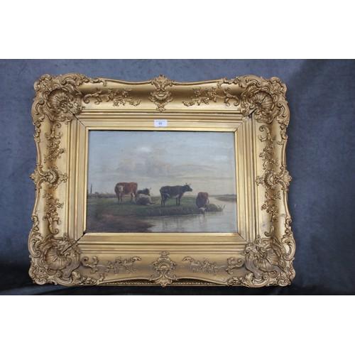 60 - J. Corbett - cattle in river landscape, drinking, oil on canvas, in gilt frame, 59cm x 72cm, a.f.
