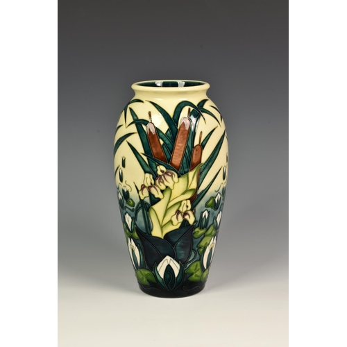 10 - A Moorcroft Pottery 'Lamia' pattern vase, of slender ovoid form, tubeline decorated in the Lamia pat...