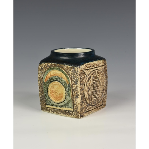 16 - A vintage Troika Pottery marmalade jar, by Jane Fizgerald 1976-1983, of typical form with geometric ...