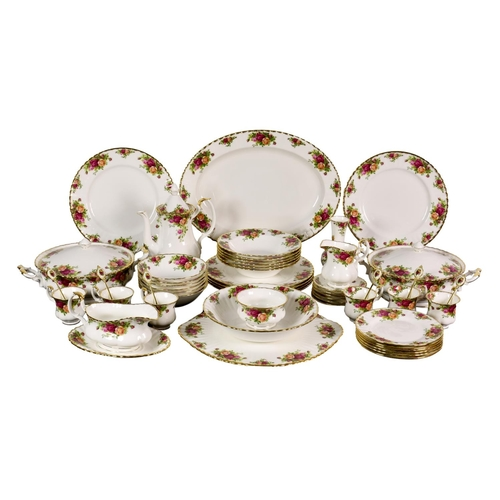 23 - An extensive Royal Albert 'Old Country Roses' dinner service, comprising a bread and butter plate; o...