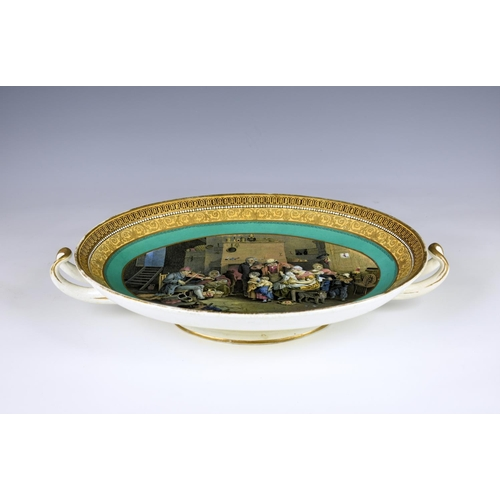 24 - A two handled oval Prattware saucer dish, 19th century, the interior scene of a family being enterta...