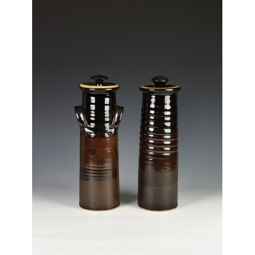 29 - Two Guernsey pottery spaghetti storage jars, brown glazed, of similar tapering form, each printed 'C...