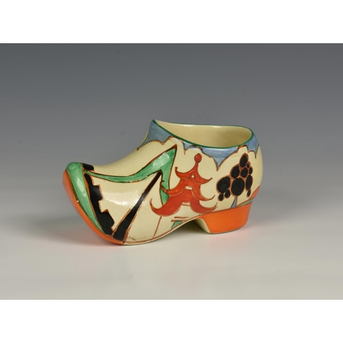 3 - A Clarice Cliff Bizarre Art Deco period hand painted Clog / Sabot in the 'Kew' pattern, c.1930, pain...