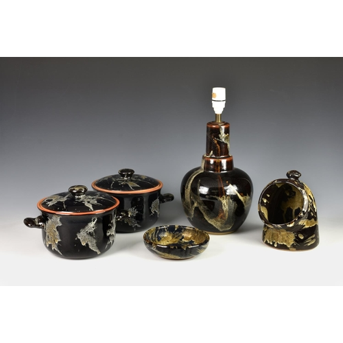 31 - A collection of Guernsey 'Bon Forma' pottery stoneware, to include a pair of twin handled cooking po...