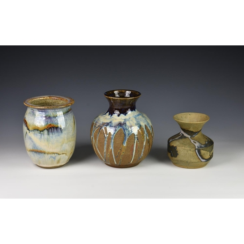 32 - Three Guernsey Pottery vases, of varying forms, each having drip glaze decoration, various impressed...