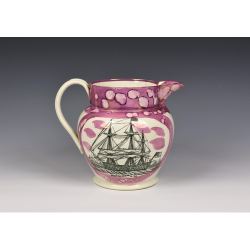 54 - A 19th century Sunderland pink lustre jug, painted and transfer printed, one side with panel of a th...
