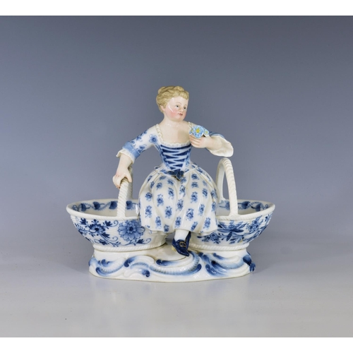 57 - A Meissen porcelain double salt, c.1900, in the form of a girl seated upon conjoined baskets, on a r...