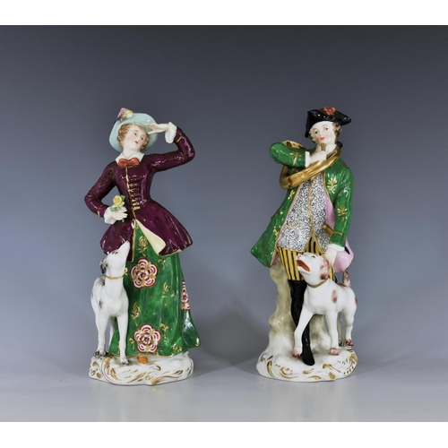 58 - A pair of Continental figures of a huntsman and huntswoman, probably Samson, early 20th century, gol...