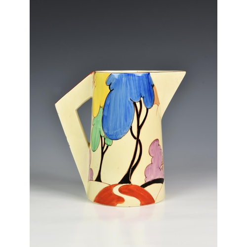 1 - A Clarice Cliff Bizarre Art Deco period hand painted Conical Jug in the 'Blue Autumn' pattern, c.193...