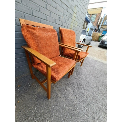 1 - Pair Of Danish Mid Century Chairs by BORGE MOGENSEN FOR FREDERICIA STOLEFABRIK...