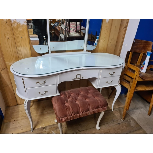 13 - Shabby Chic Style White French Dressing Table with Stool and Mirrors...
