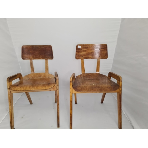 14 - Pair of Mid Century Bentwood Stacking Chairs...