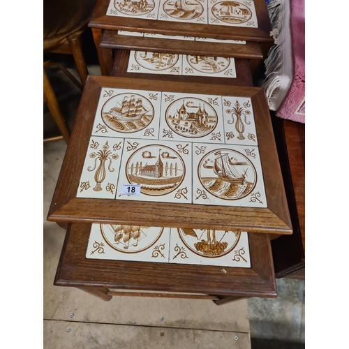 18 - Set of 5 Danish Nested Tile Top Tables...