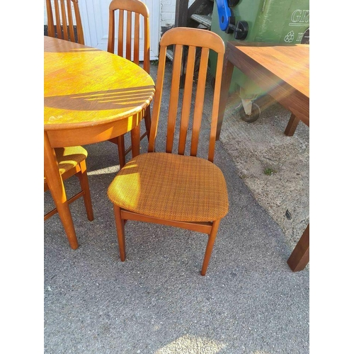 2 - Mid Century Teak Oval Extending Table and 6 Chairs...