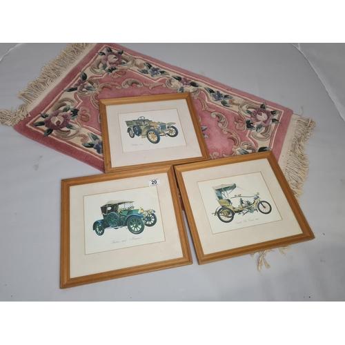 20 - Set of 3 Framed Prints of Old Motor Cars 15