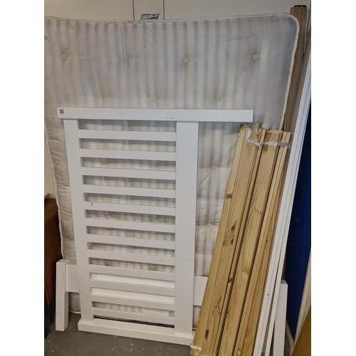 24 - John Lewis White Wooden Double Bed with Mattress...