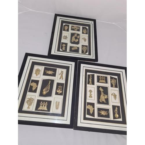 28 - Set of 3 Framed Sets of Akan Goldweights 20