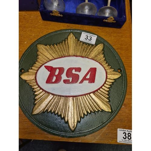 33 - Cast Iron BSA Plaque 10