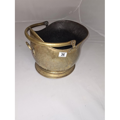 36 - Old Hammered Brass Coal Bucket...