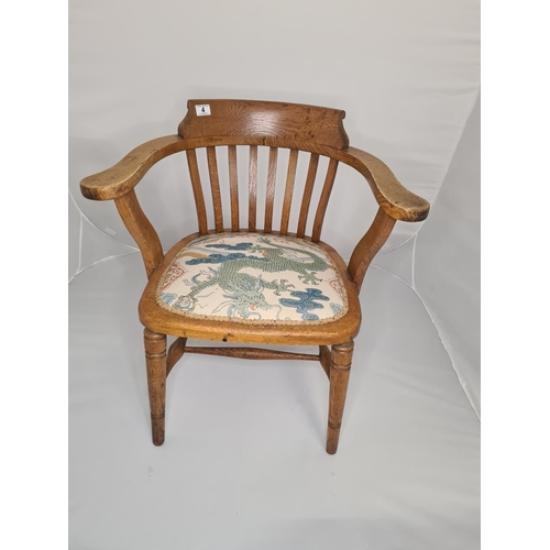 4 - Oak Bow Smokers Captains Chair...