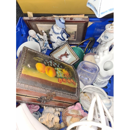 40 - Blue Plastic Crate of Assorted Misc. Collectables...