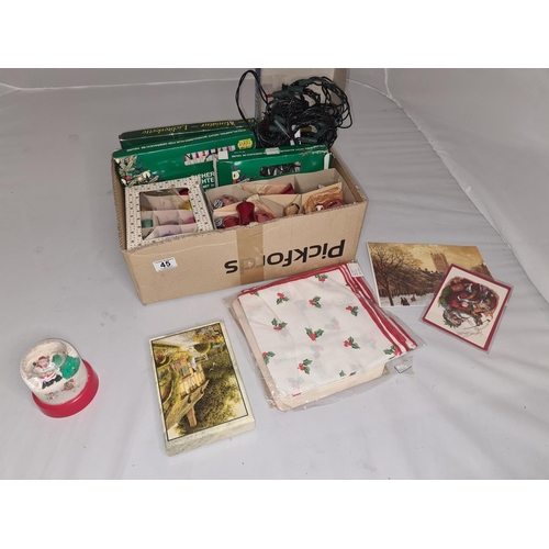 45 - Box of Assorted Vintage Christmas Items incl. Decorations, Cards etc...